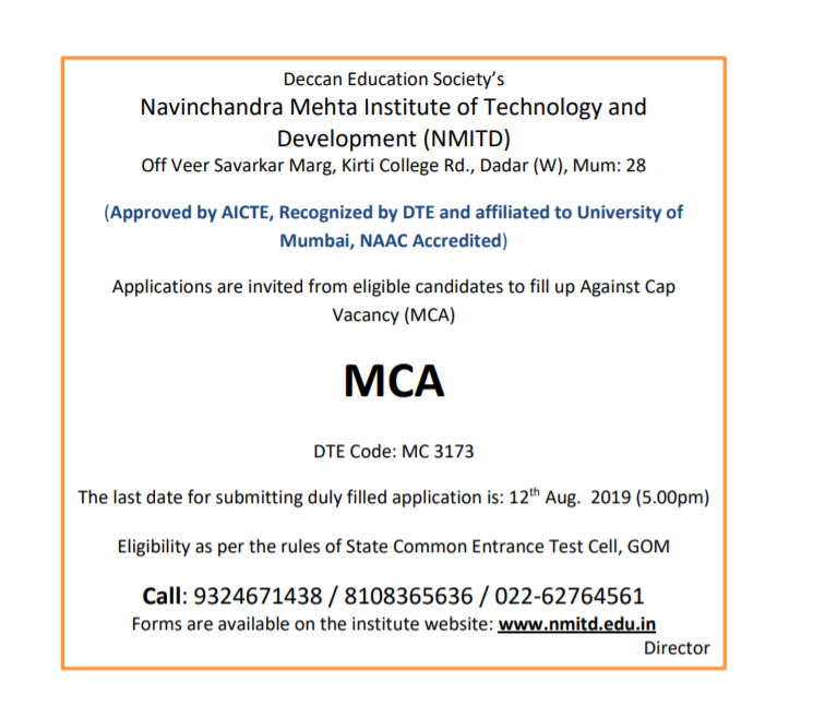 Admission Against MCA CAP Vacancy